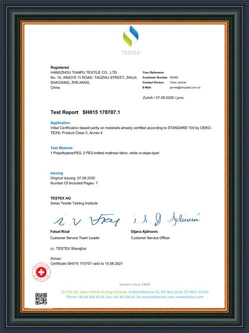 HANGZHOU TIANPU RE SH015 170707.1 Informe de prueba